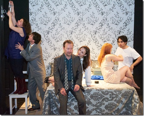"A scene from Steep Theatre's ""Festen"", directed by Jonathan Berry. Photo by Lev Kalmens."