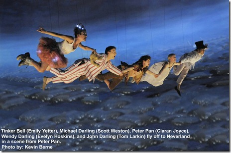 "Emily Yetter (Tinkerbell), Scott Weston (Michael Darling), Ciaran Joyce (Peter Pan), Evelyn Hoskins (Wendy Darling) and Tom Larkin (John Darling) fly off to Neverland in a scene from ""Peter Pan"". Photo by Kevin Berne"