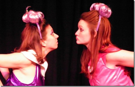 "Gina Sparacino and Meghan Phillpp in New Rock Theater's ""The First (and Last) Musical on Mars"", by George Zarr."