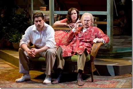 "Karen Janes Woditsch, Martin Yurek and John Reeger in Writers' Theatre's ""Heartbreak House"" by George Bernard Shaw""."