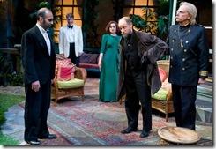 "Kareem Bandealy, Kevin Christopher Fox, Tiffany Scott, Tim Gittings and John Reeger in Writers' Theatre's ""Heartbreak House"" by George Bernard Shaw."