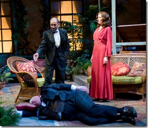 "John Lister, Kareem Bandealy and Karen Janes Woditsch in Writers' Theatre's ""Heartbreak House"" by George Bernard Shaw""."