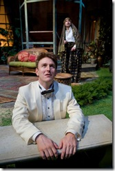 "Kevin Christopher Fox and Martin Yurek in Writers' Theatre's ""Heartbreak House"" by George Bernard Shaw""."
