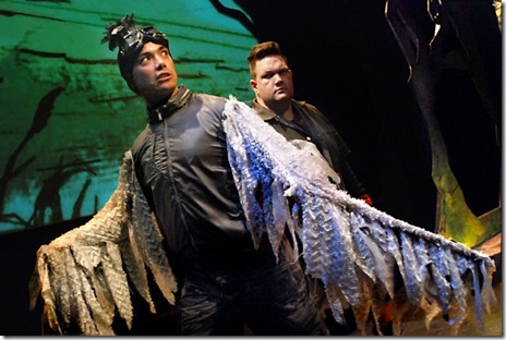 "Jesse Manson as Kehaar (left) and Christopher M. Walsh as Bigwig (right) in Lifeline Theatre's ""Watership Down"". (Photo: Suzanne Plunkett)"
