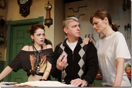 "Joanne Dubach, Thomas Gebbia and Gail Rastorfer in a scene from ""Hickorydickory"" by Marisa Wegrzyn, directed by Russ Tutterow. (Photo credit: Chicago Dramatists)"