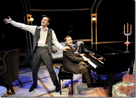 Alan Schmuckler and Joe Kinosian in Chicago Shakespeare Theater's Murder for Two—A Killer Musical, directed by David H. Bell and playing Upstairs at Chicago Shakespeare.  (Photo: Liz Lauren)