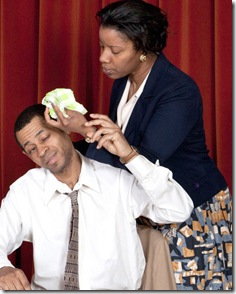 """David Lawrence and Elana Elyce in Lincoln Square Theatre's """"A Lesson Before Dying"""""""