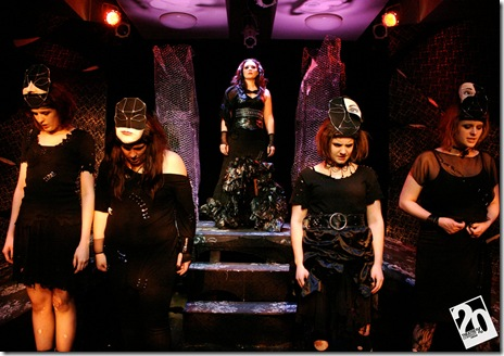 "Lindsay Le Tigre Bartlett, Laura Deger, Sophie Gatins in 20% Theatre's ""Electra and Orestes"". Photo credit: Linda Oleska"