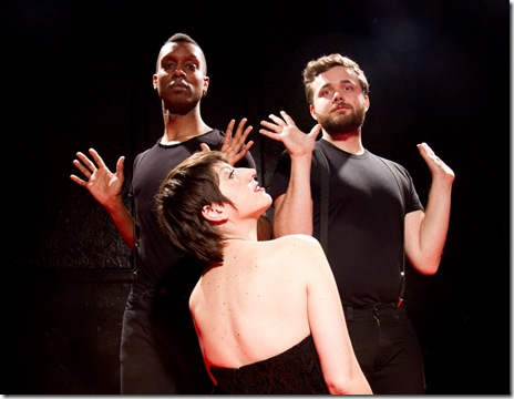 "Donnell Williams, Mary Fons and Joseph Schupbach in 'Performing Tonight: Liza Minnelli's Daughter"" at Neo-Futurists"