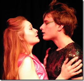 """Meghan Phillipp and Sam Button-Harrison in New Rock Theater's """"The First (and Last) Musical on Mars"""", by George Zarr."""