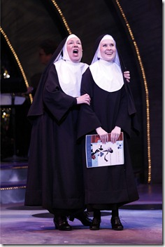 "Mary Robin Roth (Sister Robert Anne) and Nicole Miller (Sister Leo) in Theatre at the Center's ""Nunset Boulevard"" by Dan Goggin."