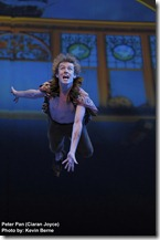 Peter Pan (Ciaran Joyce) flies into the Darling family bedroom . Photo by Kevin Berne.