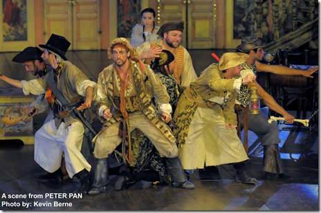 The pirates of Peter Pan, with Wendy (Evelyn Hoskins) in the background. Photo by Kevin Berne