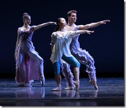 "Night: Amber Neumann, Anastacia Holden (center), Derrick Agnoletti in Joffrey Ballet's ""Rising Stars"""