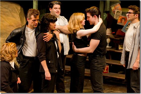 "(L to R) Carol Rose, Tony Clarno, Jessica Diaz, Robert Colletti, Kelly Davis Wilson, Adrian Aguilar and Tyler Ravelson in a scene from American Theater Company's ""The Original Grease"". Photo by Brett Beiner"