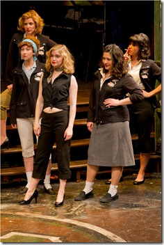 "(L to R) Carol Rose, Jessie Fisher, Kelly Davis Wilson, Sadieh Rifai, Jessica Diaz in a scene from American Theater Company's ""The Original Grease"". Photo by Brett Beiner"