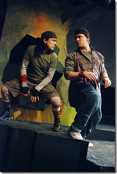 "Scott T. Barsotti as Fiver (left) and Paul S. Holmquist as Hazel (right) in Lifeline Theatre's ""Watership Down"".  (Photo: Suzanne Plunkett)"