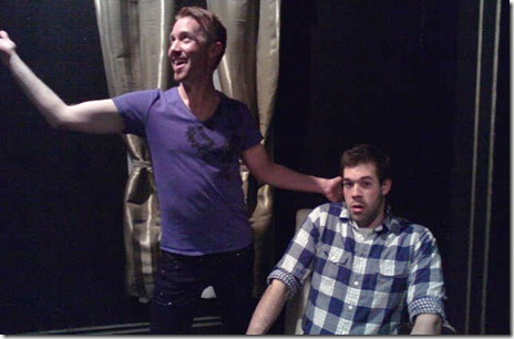 "Timothy Tintorini (Stanley) and Bob Skosky (Lee) in Ludicrous Theatre's ""Sleeping with Straight Men"" by Ronnie Larsen."