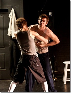 "Luke Couzens and Dustin Valenta fight in ""War and Peace: A Dance Theater Short"" at Viaduct Theatre, adapted and choreographed by Jim Manganello"