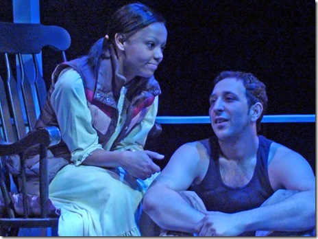 "(from left) Paige Collins is Portia, and Desmin Borges plays Gabriel, in Teatro Vista's world premiere of Jennifer Barclay's ""Freedom, NY"".  (Photo: Eddie Torres)"