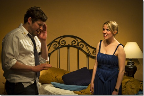 "Jeff Trainor (Menelaus) and Katy Carolina Collins (Helen) in a scene from Vintage Theater Collective's ""Hellen"" by Ellen McLaughlin."