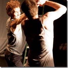 "Luke Couzens and Dustin Valenta in ""War and Peace: A Dance Theater Short"" at Viaduct Theatre, adapted and choreographed by Jim Manganello"