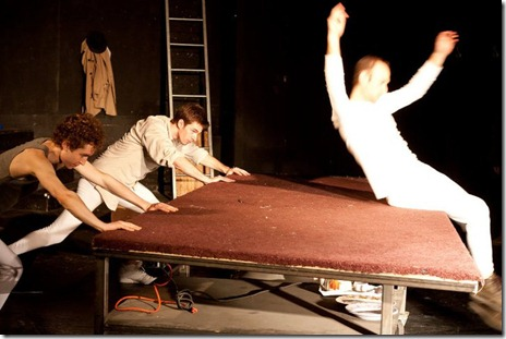 """Making use of the table in """"War and Peace: A Dance Theater Short"""" at Viaduct Theatre, adapted and choreographed by Jim Manganello"""