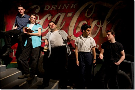 "(L to R) Bubba Weiler, Tyler Ravelson, Robert Colletti, Patrick De Nicola, Adrian Aguilar in a scene from American Theater Company's ""The Original Grease"". Photo by Brett Beiner"