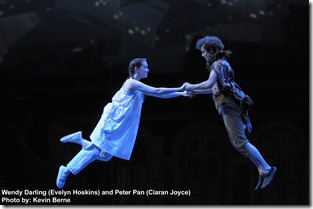"Peter Pan (Ciaran Joyce) shows Wendy (Evelyn Hoskins) how to fly in ""Peter Pan"". Photo by Kevin Berne"