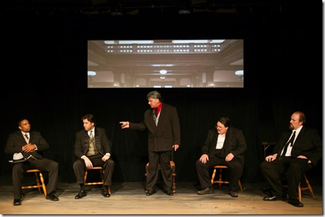 "Jovan King, Duke Faeger, Jerry Marzullo, Rich Traub and Philip S. Zimmermann, in Commedia Beauregard Theatre's ""Corleone: The Shakespearean Godfather"", written by David Mann, directed by Christopher O. Kidder. (photo credit: Jennifer Marcias)"