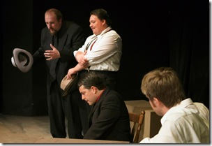 "Philip S. Zimmermann, Nathan Pease, Rich Traub and Chris Lysy, in Commedia Beauregard Theatre's ""Corleone: The Shakespearean Godfather"", written by David Mann, directed by Christopher O. Kidder. (photo credit: Jennifer Marcias)"
